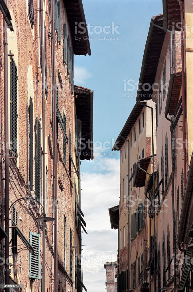 Lucca's townscape - two facing buildings stock photo