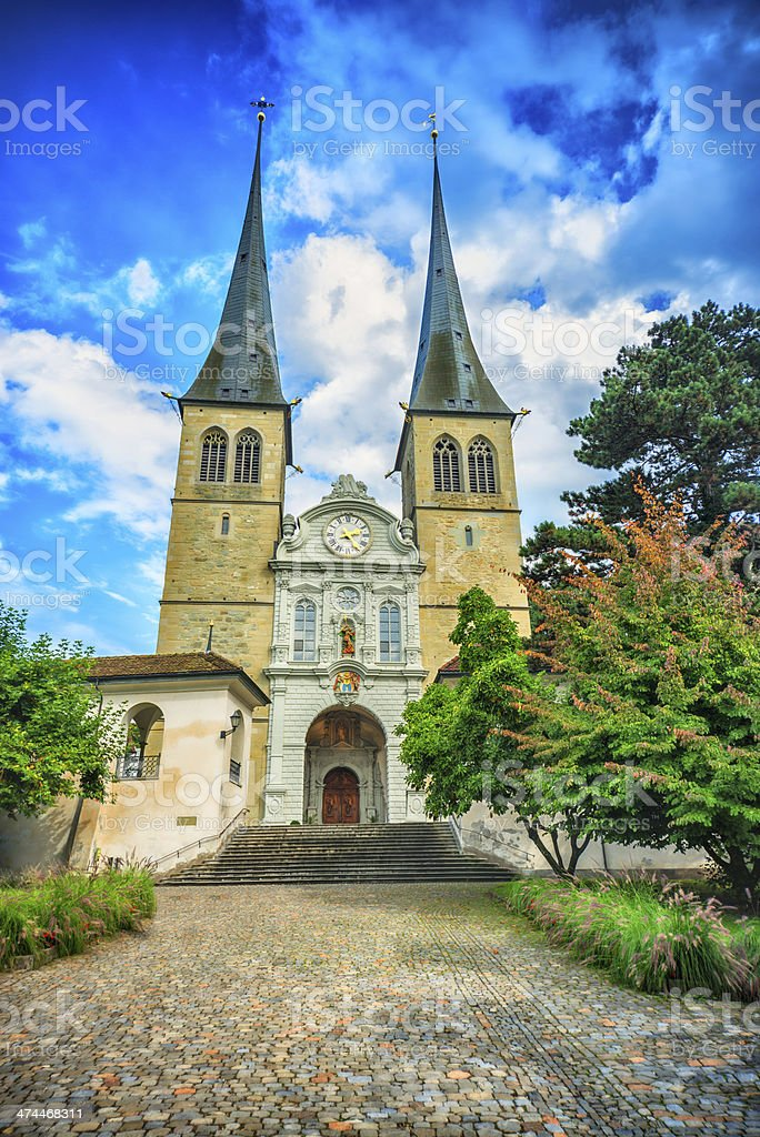 Lucerne Cathedral Church of St. Leodegar, Switzerland royalty-free stock photo