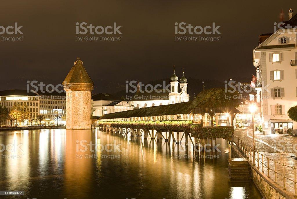 Lucerne City Skyline, Chapel Bridge stock photo
