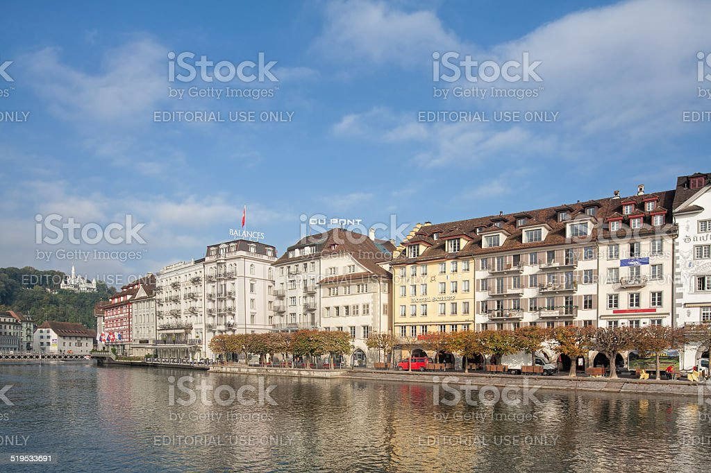 Lucerne in autumn morning stock photo