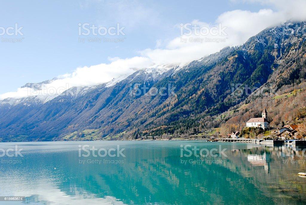 Lucerne in Autumn, Swan and Chapel Bridge, Switzerland stock photo