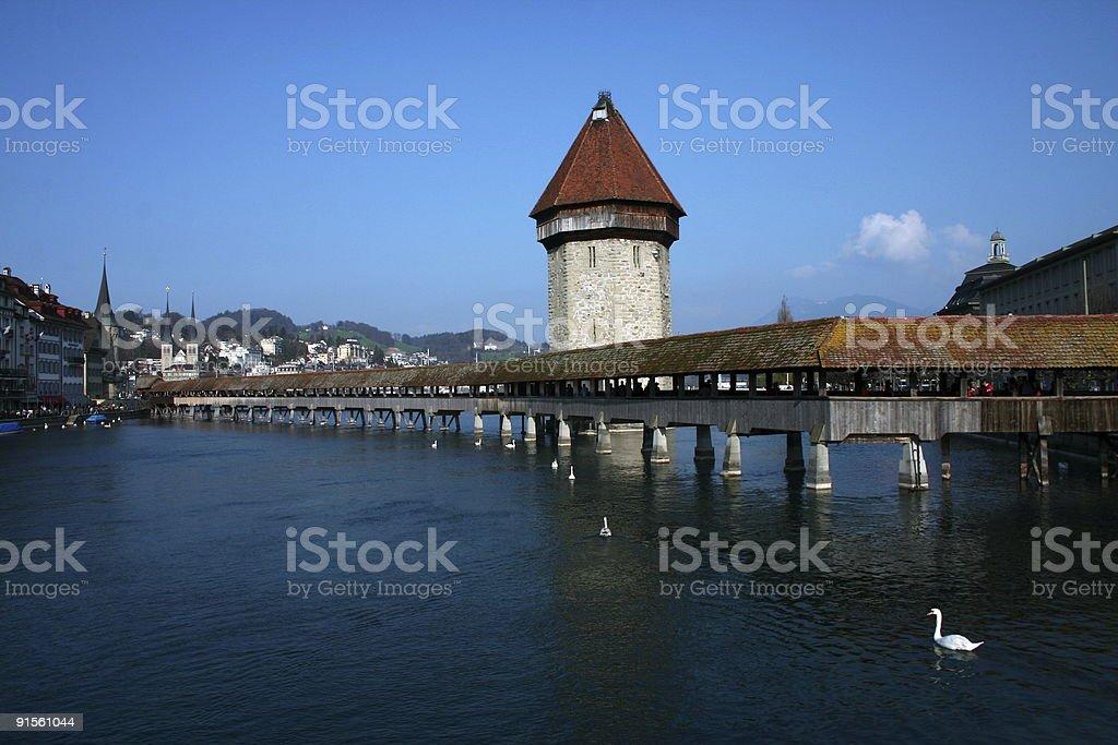 Lucerne old bridge stock photo