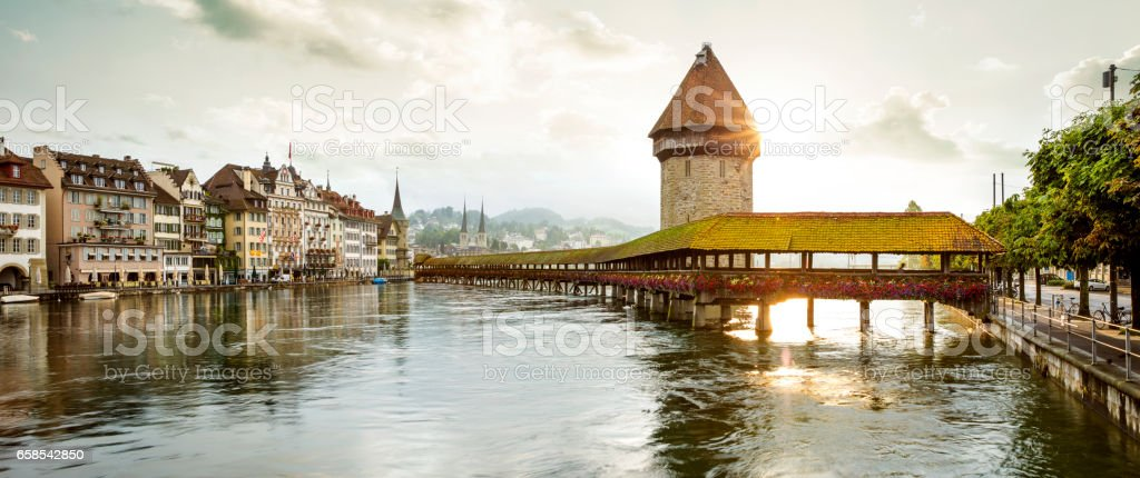 Lucerne old town with Chapel Bridge and Water Tower stock photo