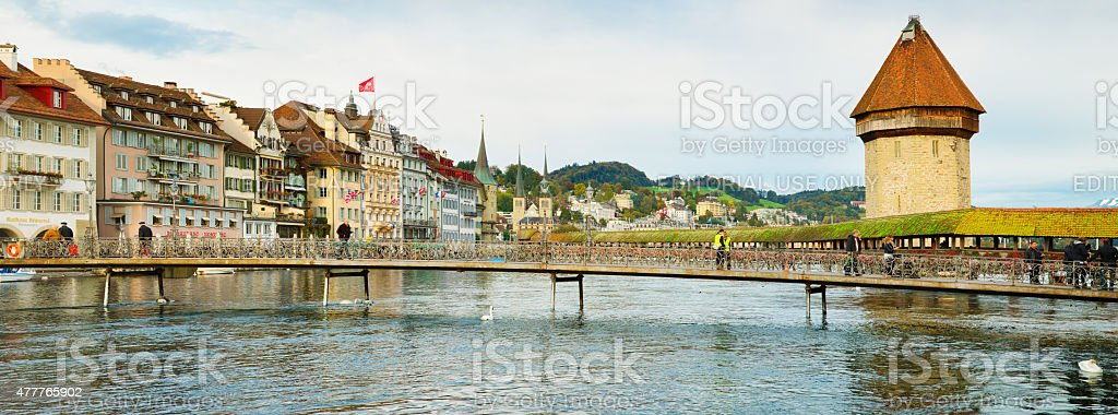 Lucerne Reuss river panorama with North shore and Chapel bridge stock photo