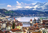 Lucerne, Switzerland, view of old town and Alps mountains