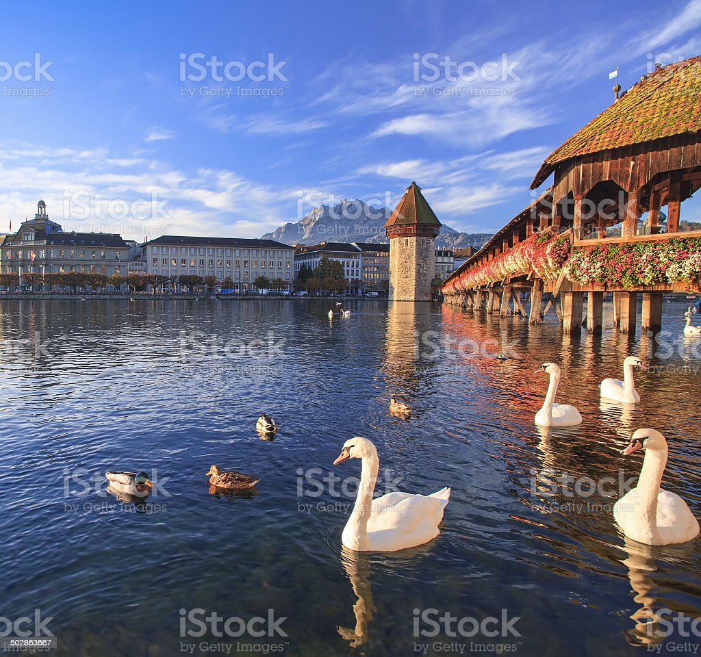Lucerne, the Chapel Bridge in early morning stock photo