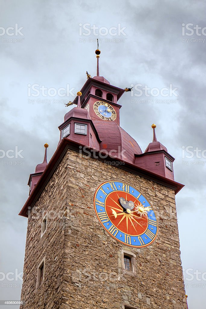 Lucerne, townhall tower agianst grey sky stock photo