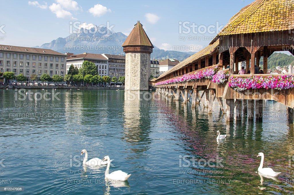 Lucern's Kepellbrüke (chapel bridge) and mount Pilatus stock photo