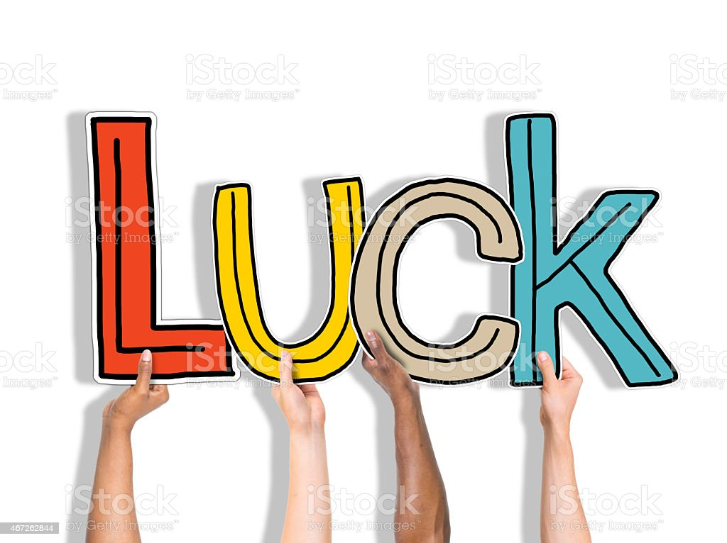Luck Lucky Blessed Hands Holding White Background Concept stock photo