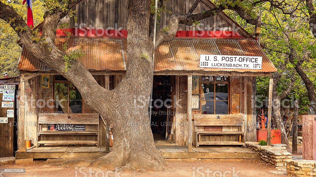 Luckenbach Texas Post Office, Store and Bar stock photo