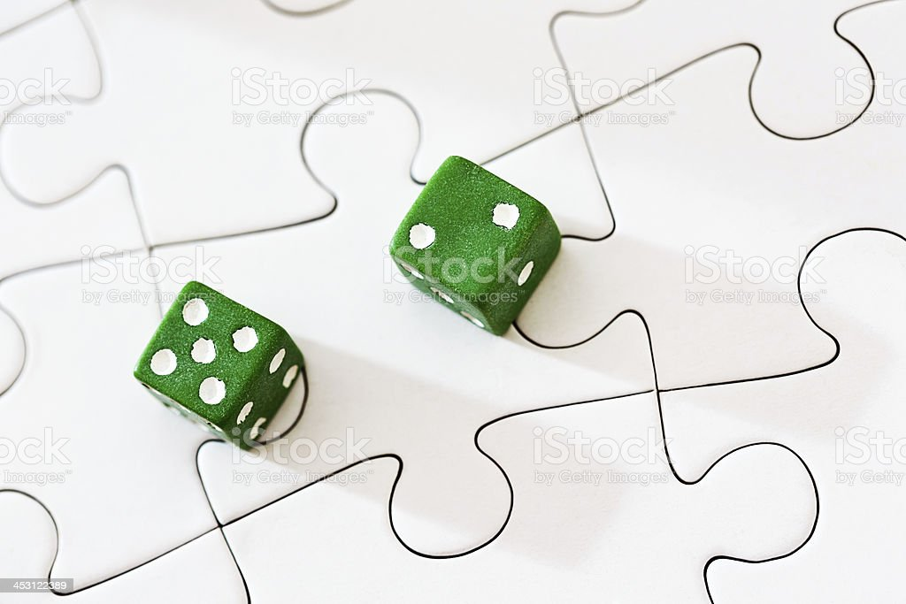 Lucky 7? Like throwing dice, luck is a puzzle stock photo
