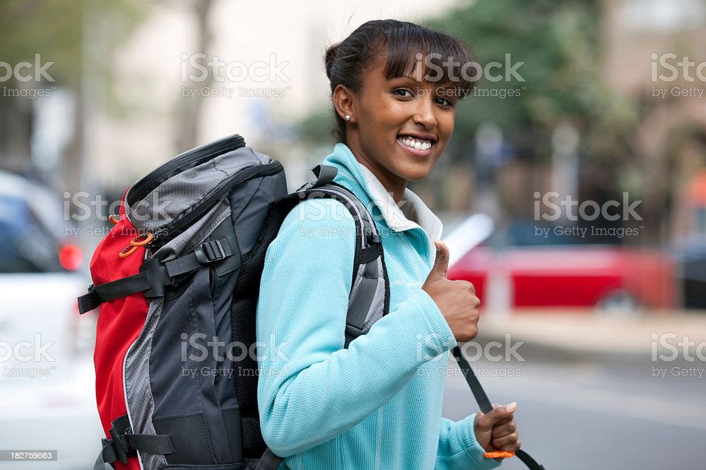 Lucky backpacker royalty-free stock photo
