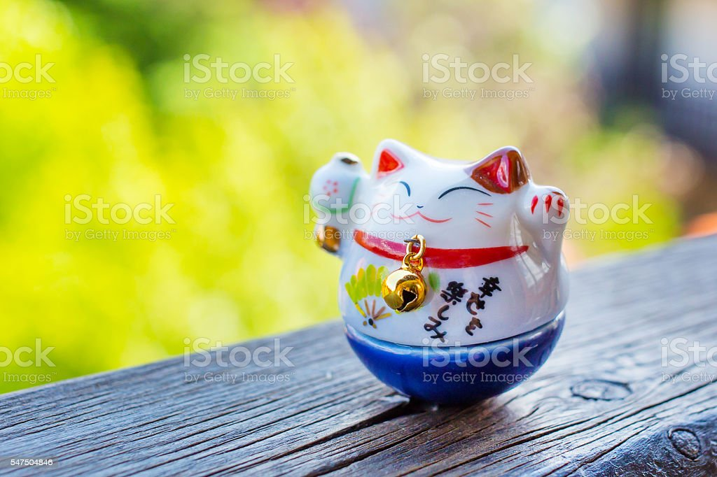 Lucky Cat in blue color stock photo