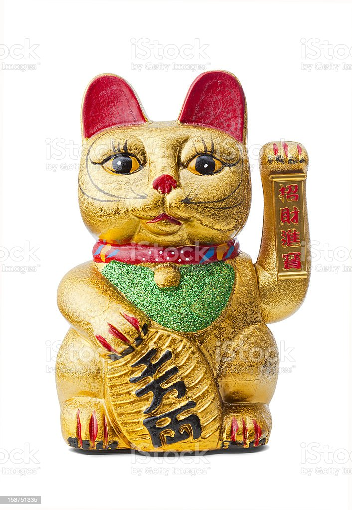 Lucky Cat - Maneki Neko holding the Koban coin stock photo