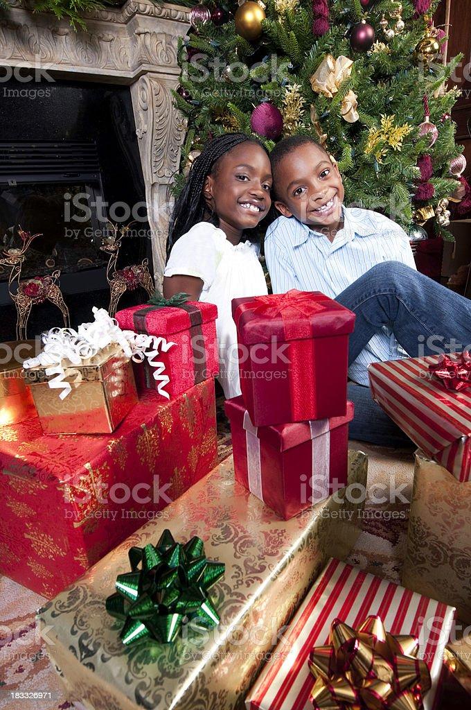 Lucky Christmas Kids stock photo