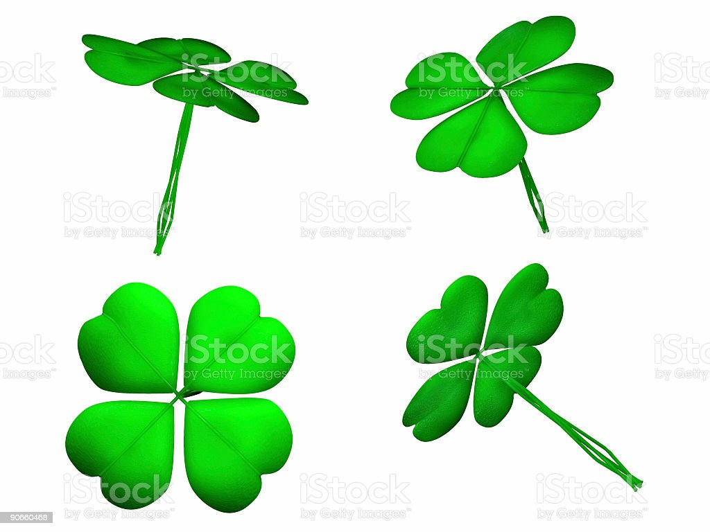 Lucky Clovers 3D (Isolated) royalty-free stock photo