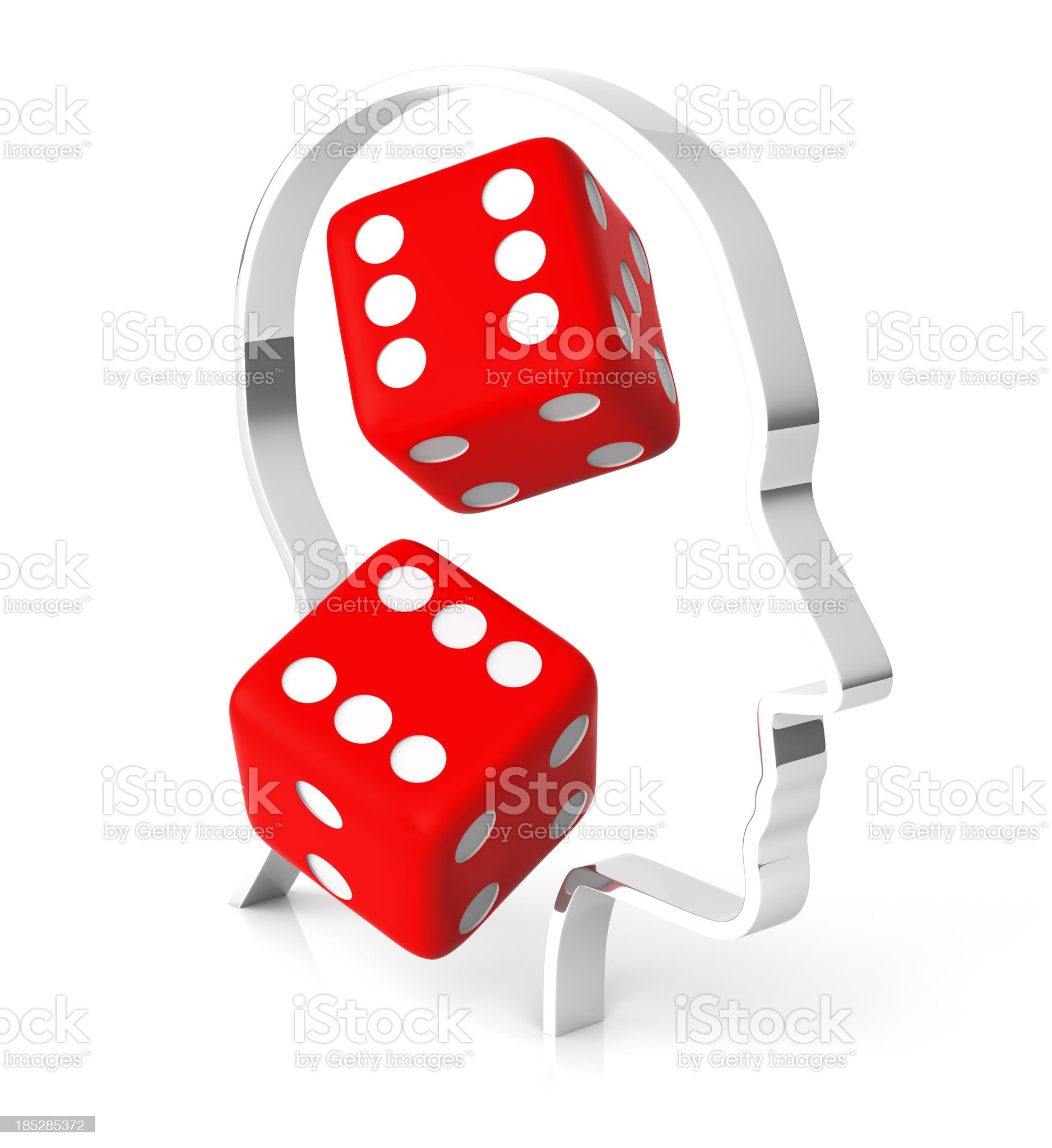 Lucky Dice inside Human Brain royalty-free stock photo