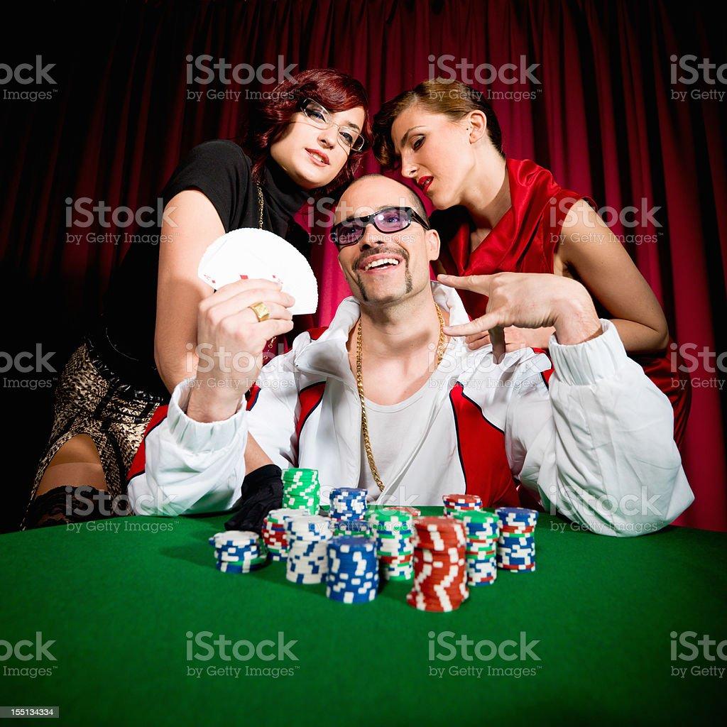 Lucky Gambler Winning Poker Game royalty-free stock photo