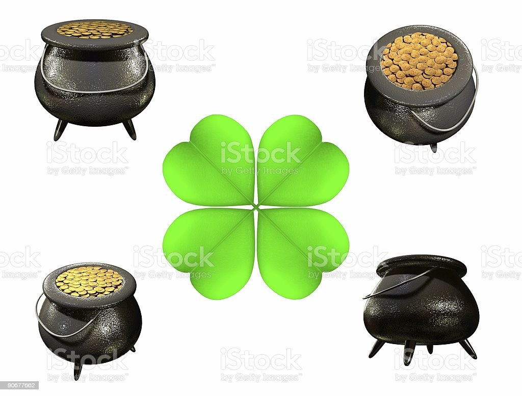 Lucky Gold Pot (Isolated) royalty-free stock photo