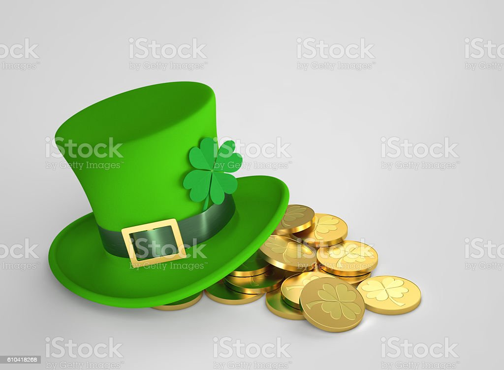 Lucky green hat and golden coins, with clipping path stock photo