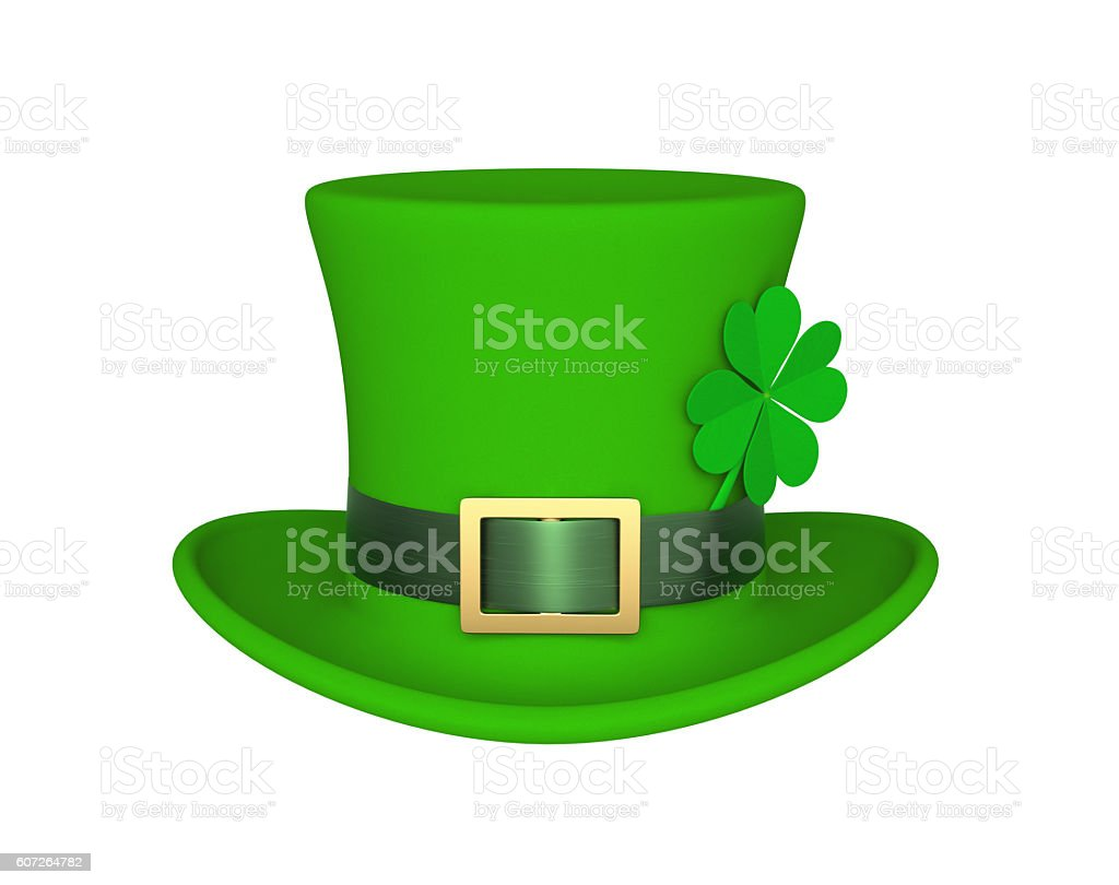 Lucky green hat with clover for Saint Patrick's Day stock photo