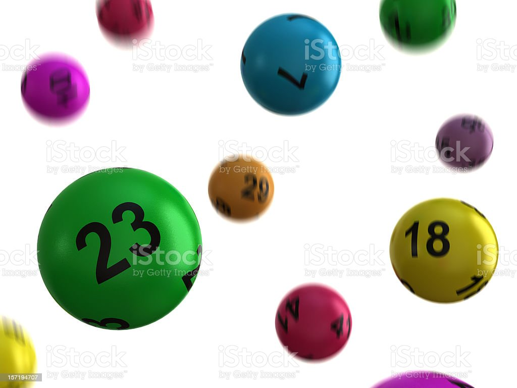 Lucky multicolored lottery balls falling from above royalty-free stock photo