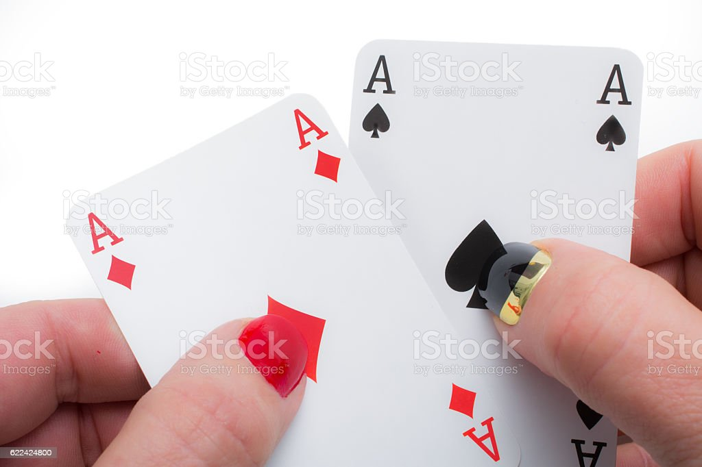 Lucky pair woman with red and black nails stock photo