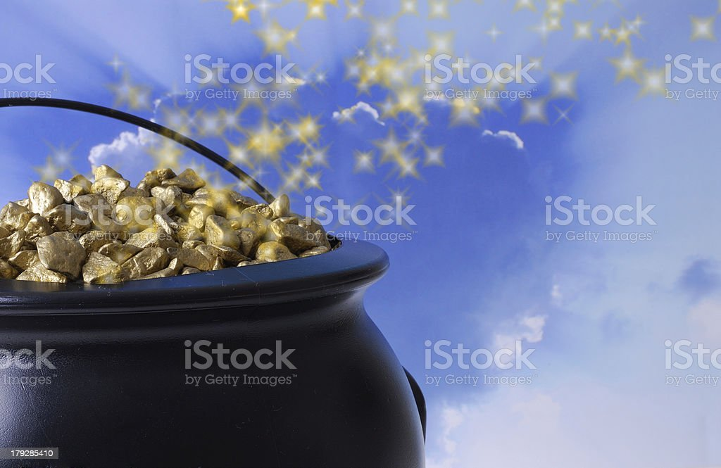 Lucky Pot of Gold royalty-free stock photo
