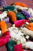 Lucky Rabbit's Foot Keychains in Bright Colors
