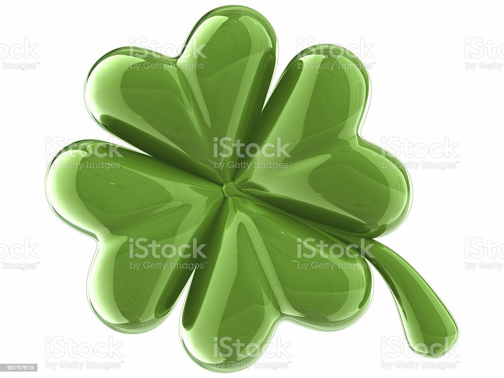 Lucky shamrock. Four Leaf Clover stock photo