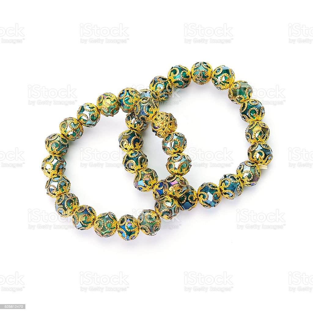 Lucky stone bracelet isolated on white background stock photo