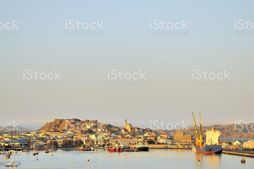 Luderitz Namibia Harbor At Dawn stock photo