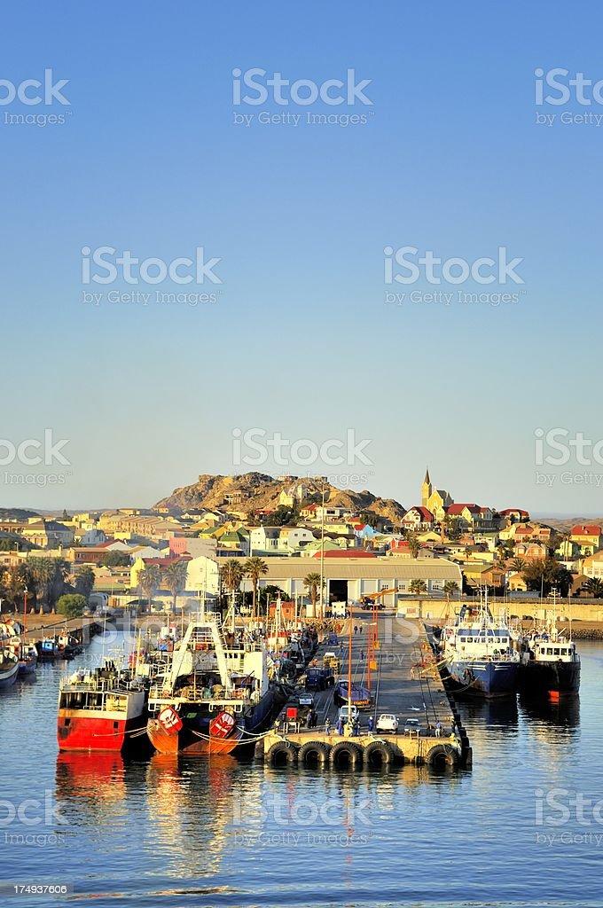 Luderitz Wharf And Cityscape stock photo