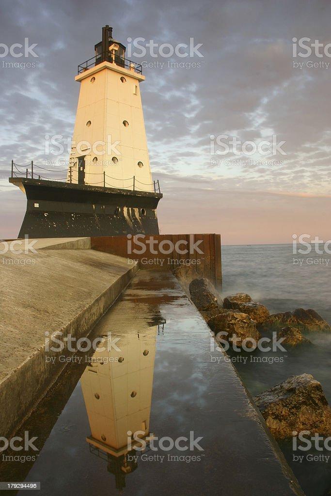 Ludington Breakwater Lighthouse, Lake Michigan royalty-free stock photo