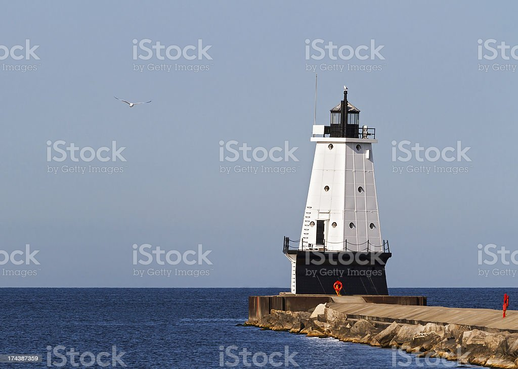 Ludington Lighthouse and Seagull royalty-free stock photo
