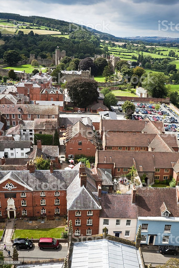 Ludlow and Castle from Above stock photo