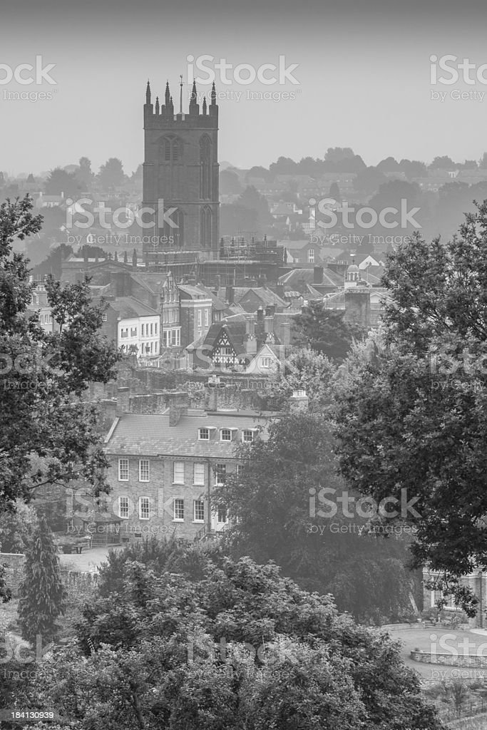 Ludlow Church in the mist, UK stock photo
