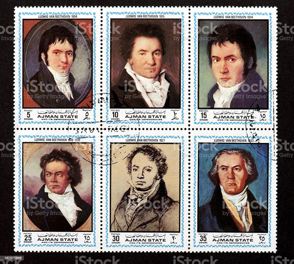 Ludwig van Beethoven (1823) postage stamp stock photo