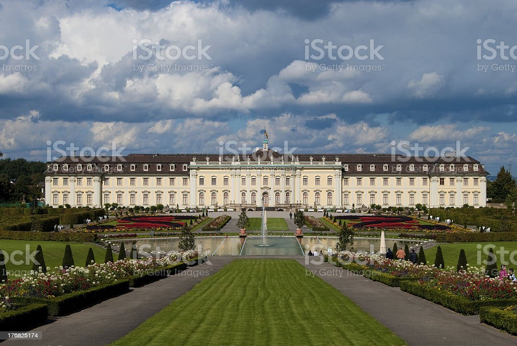 Ludwigsburg royal palace under heavy clouds stock photo