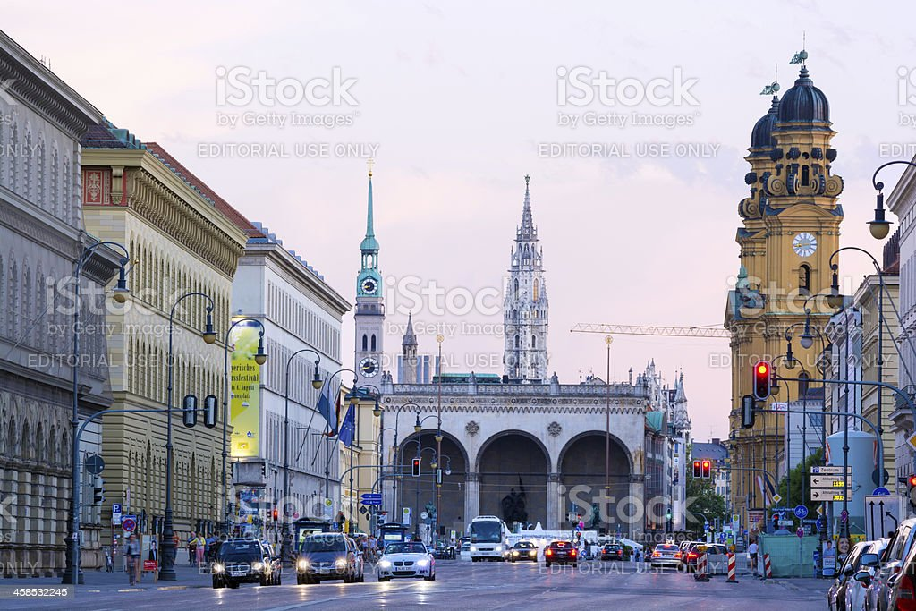 Ludwigstraße and Odeonsplatz in Munich, Germany stock photo