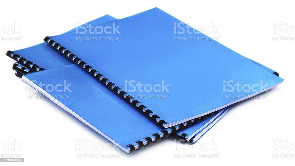 lue Spiral bound note books stock photo