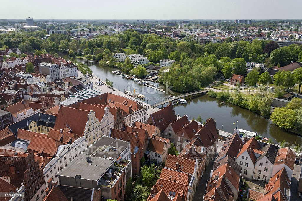 Luebeck overview stock photo