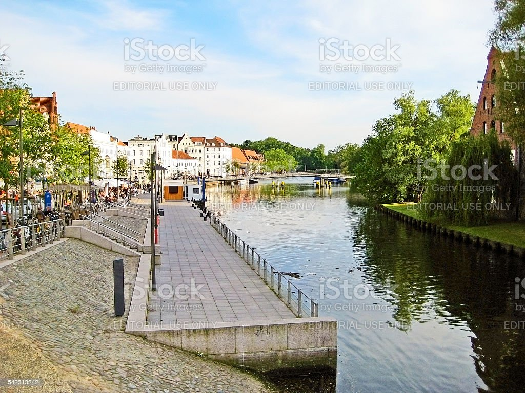 Luebeck river Trave stock photo