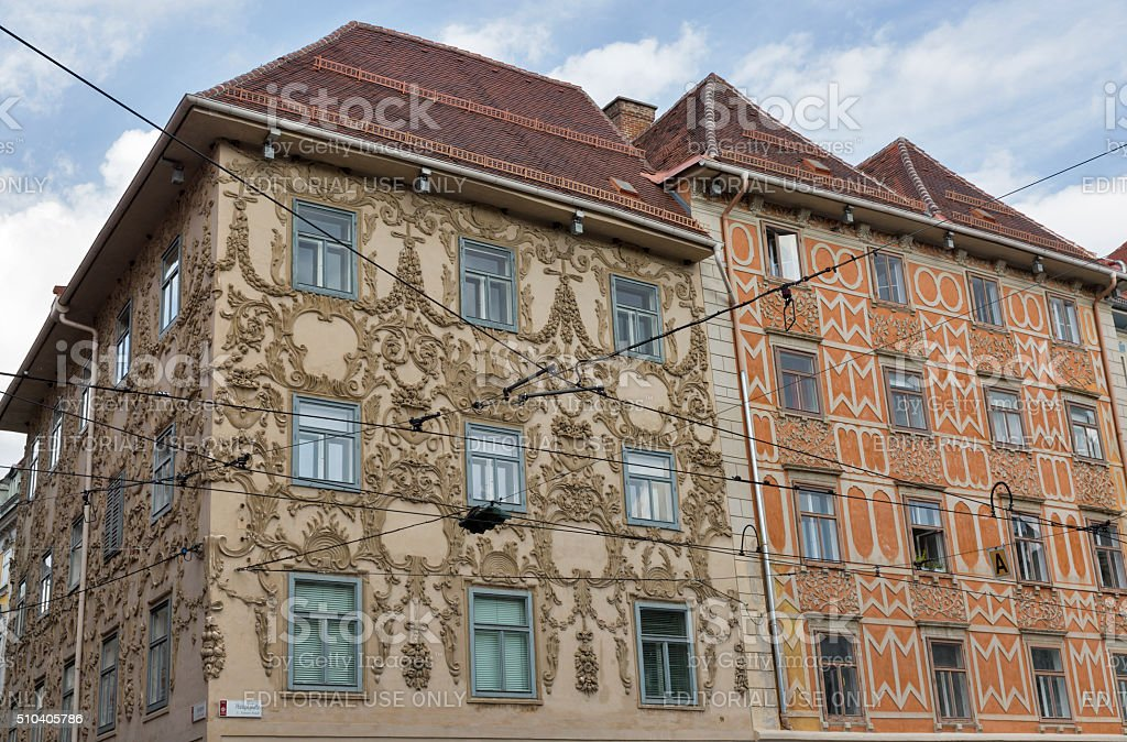 Luegg House in the Old City of Graz, Austria stock photo