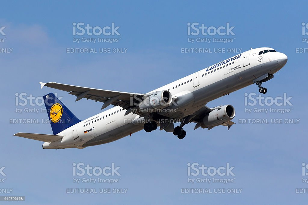 Lufthansa A321 climbing after taking off stock photo