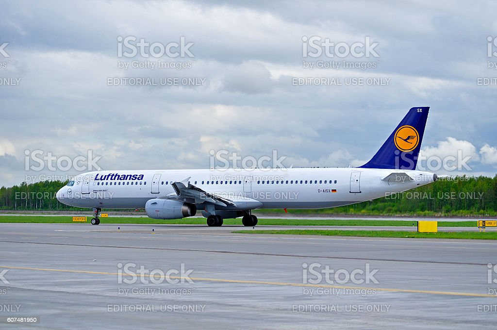 Lufthansa Airbus A321 aircraft is arriving in Pulkovo International airport stock photo
