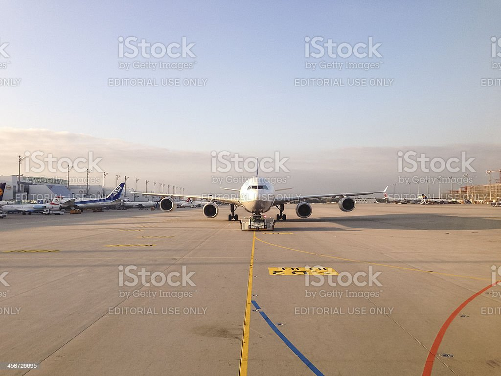 Lufthansa Airbus A340 at Push Back - Munich Airport royalty-free stock photo