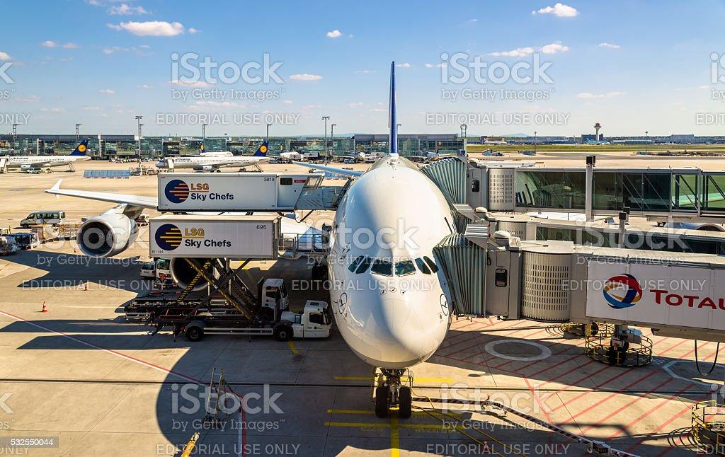 Lufthansa Airbus A380 at Frankfurt International airport stock photo