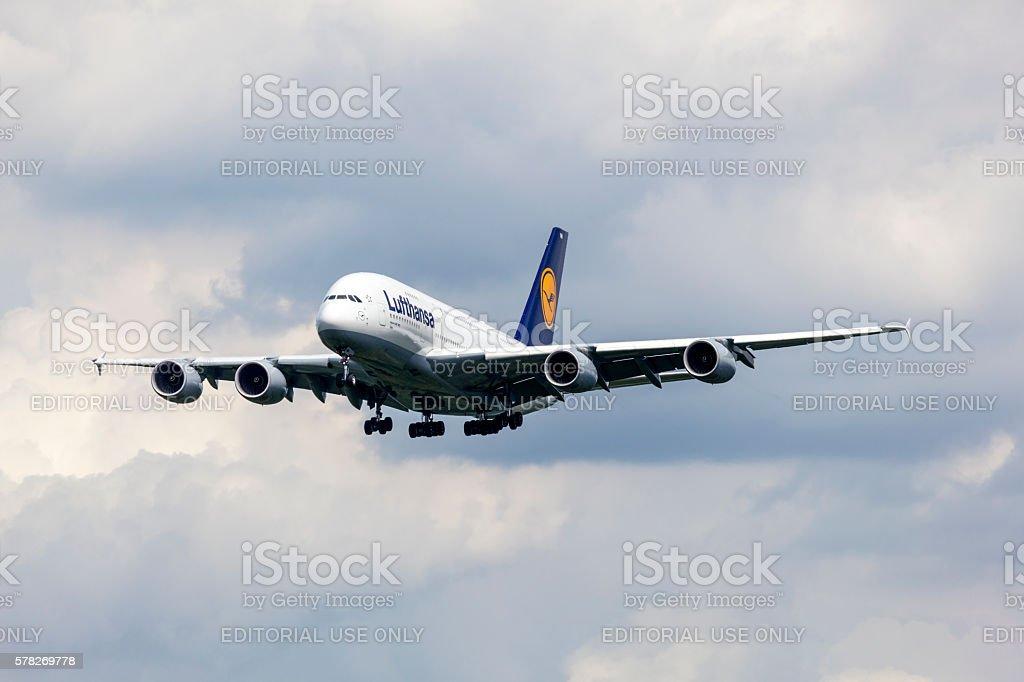 Lufthansa Airbus A380 passenger aircraft stock photo