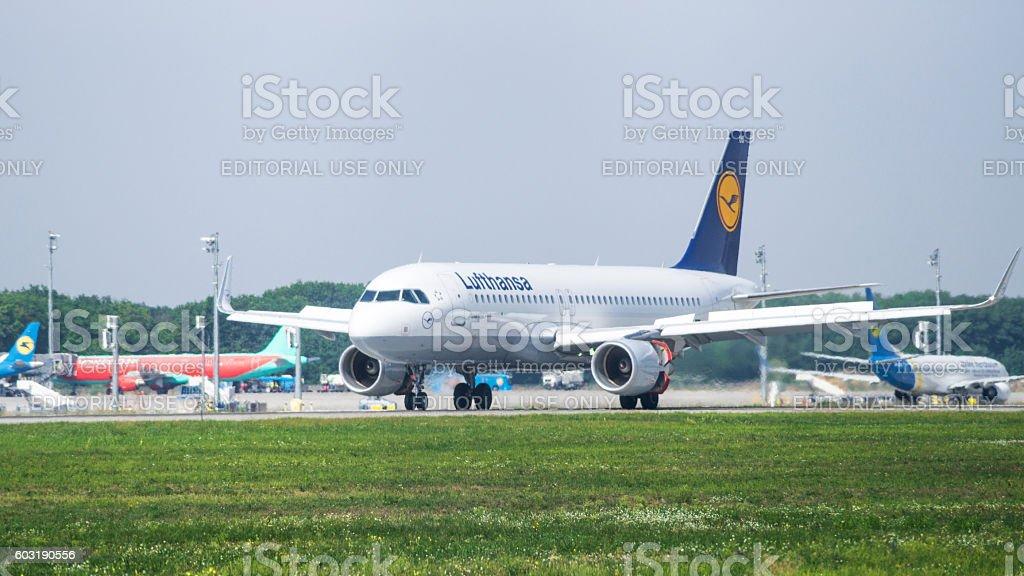Lufthansa Airbus in Airport stock photo